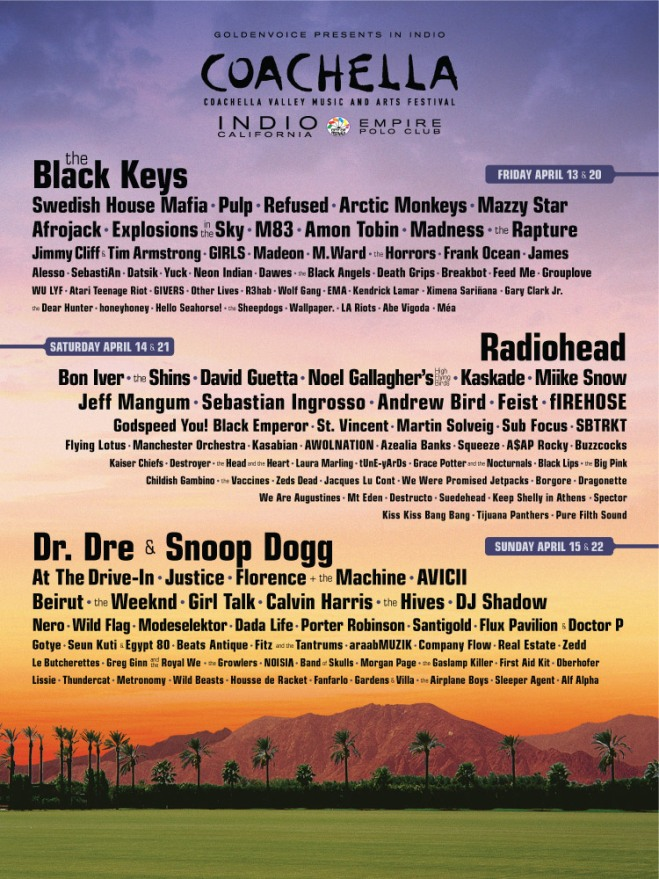 Coachella, 2012, lineup, line up, poster, picture, snoop dogg, dr dre, radiohead, bon iver,