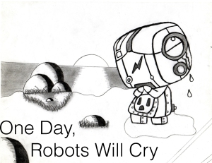 robot, crying, weeping