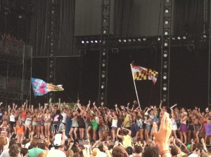 """photo of crowded stage during Santigold's """"Creator"""" at Bonnaroo 2012"""