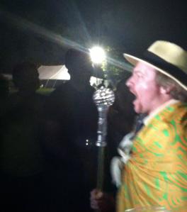 Rhys Darby Leading Music Parade at bonnaroo after alabama shakes