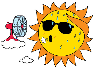 funny cartoon of sun and hot weather