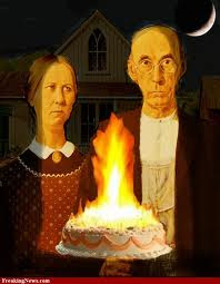 american gothic parody with birthday cake
