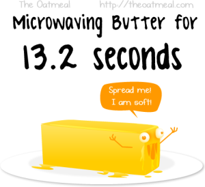 Butter .. at 13.2 seconds in a microwave