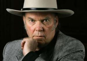 Neil young in cowboy hat, portrait