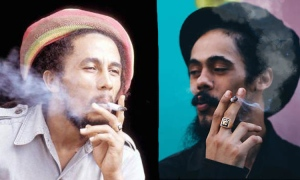 Bob Marley and Damian Marley, father and son, together