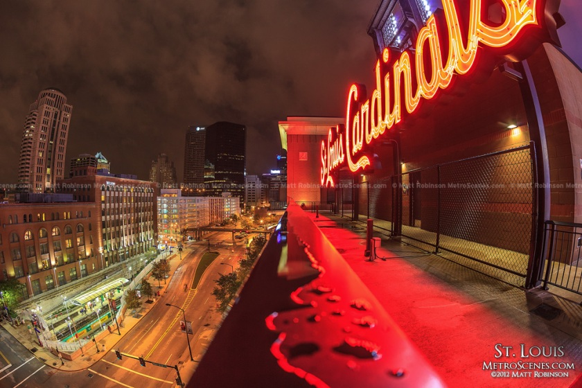 picture of busch stadium neon light sign at night