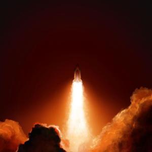 Rocket Ship Taking Off, space, beautiful