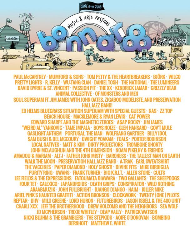 Bonnaroo 2013 Lineup, new, lineup