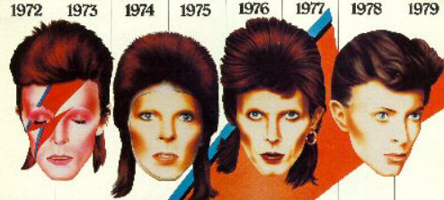 Many David Bowies, faces, different