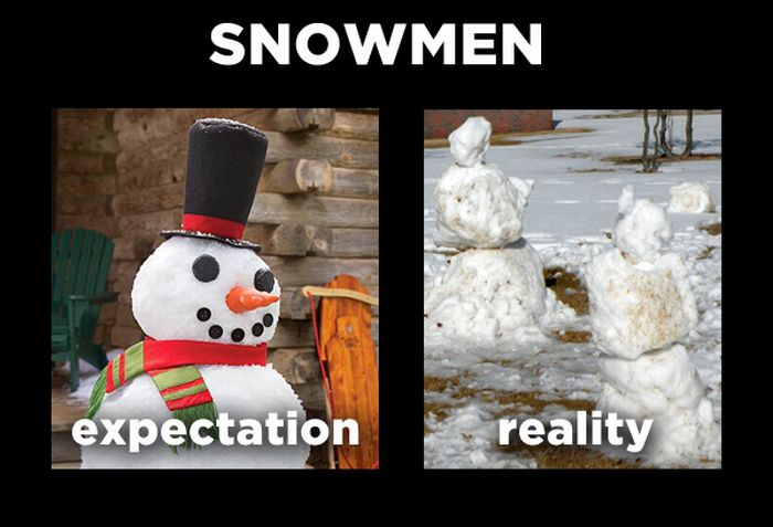 Expectation Vs Reality, winter, Snowmen
